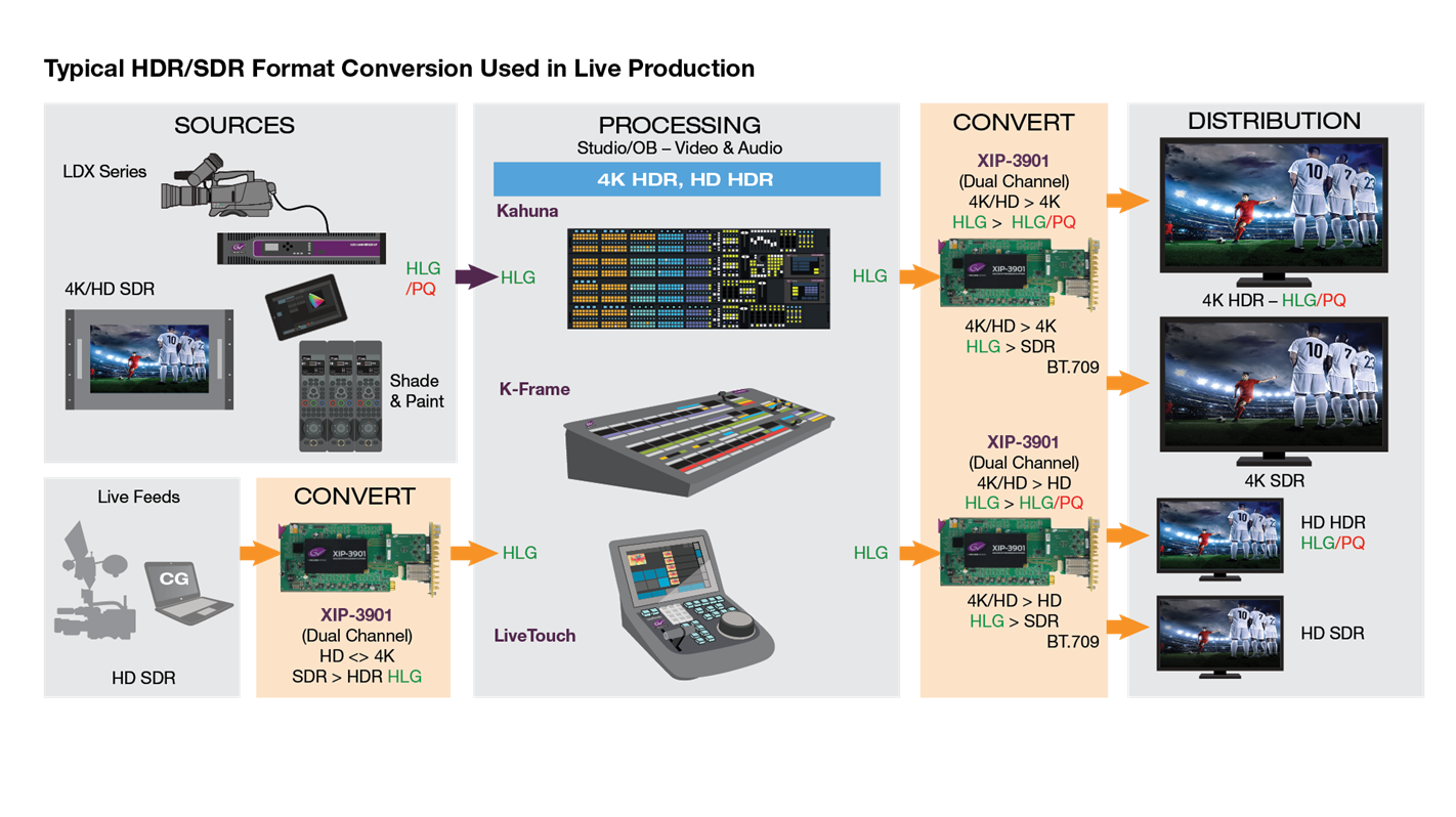 XIP-3901-UDC-IP: Typical HDR/SDR Format Conversion Used in Live Production