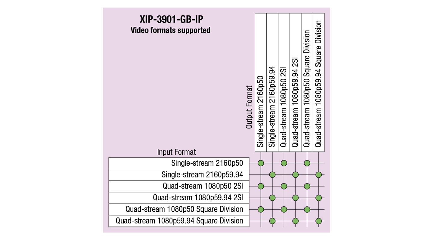 XIP-3901-GB-IP Video Formats Supported